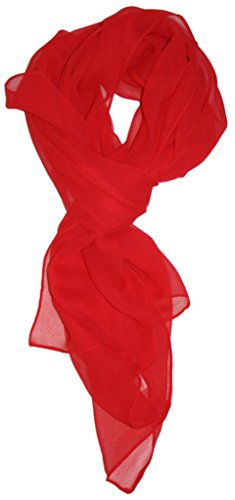 (Love Lakeside Modern Chiffon Solid Color Silk Blend Oblong Scarf Red)