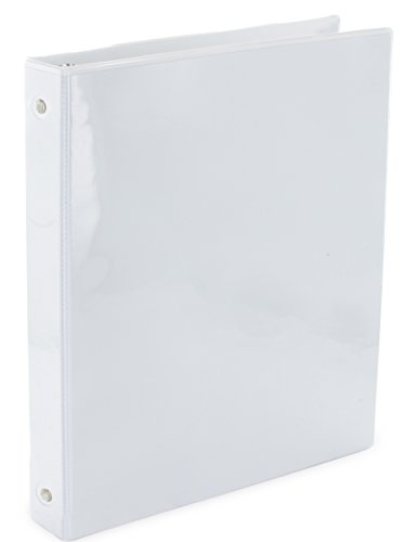 White Durable Vinyl Binder - Emraw Heavy-Duty 3-Way View White 3-Ring Binder 1-Inch – Used for Papers, Loose-Leafs, Business Cards, Compact Discs, Etc.