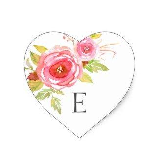 - Wedding Monogram Envelope Seals, Pink Floral Heart Sticker, Initial Letter Sticker.