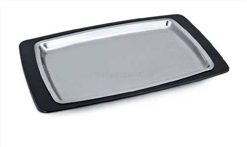 Sizzling Platter Stainless Steel (New Star Foodservice 26672 Rectangular Stainless Steel Sizzling Platter with Insulated Holder, 11