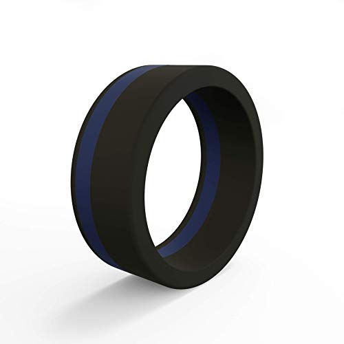 Pinstripe Ring, Thin Blue Line - Honoring Police and Law Enforcement, Size 11 ()