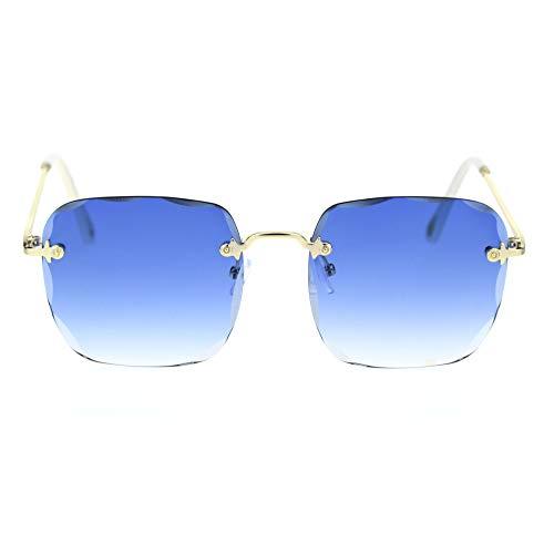 (Diamond Cut Bevel Edge Rimless Rectangle Mob Sunglasses Gold White Blue)