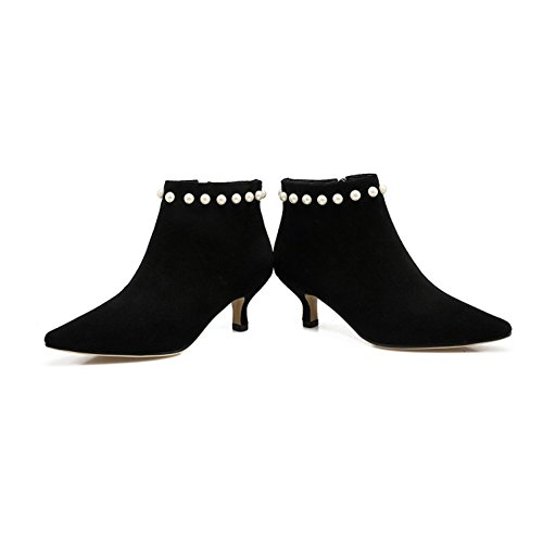 Pearl Toe Stilettos Women Decoration Shoes with Boots Black Genuine Martin QZUnique Leather Pointy Sexy wRTARnHq