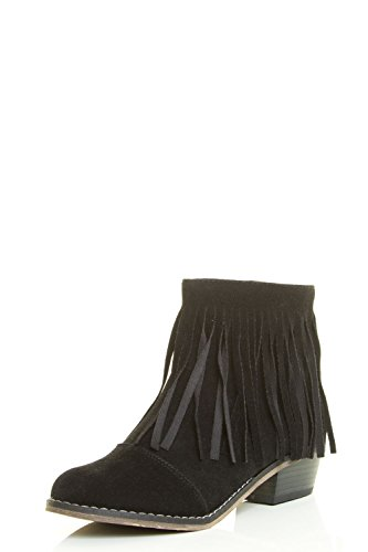 Womens Chunky Mid Almond Bootie Black Breckelle's Calf Heel Cowboy Fringe Tassel Toe Ankle 4qFdwXd