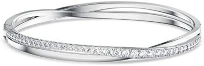 Swarovski Women's Twist Rows Bangle Bracelet, Rhodium Finish, White Sparkling Crystals Bracelet Collection