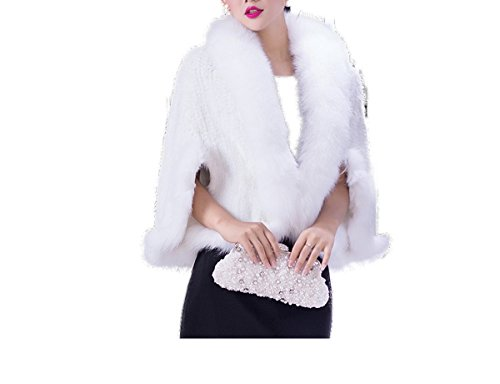 White Knitted Mink Shawl Poncho Cape Black Knit Fur Shawl Wrap Stole Mink Coat (L, White) by Lovingbeauty