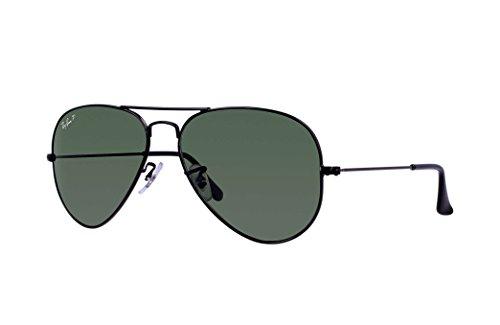 Ray Ban RB3025 Aviator Sunglasses Unisex (58 mm, Black Frame Polarized Black - Rb3025 Black Green Lens Frame