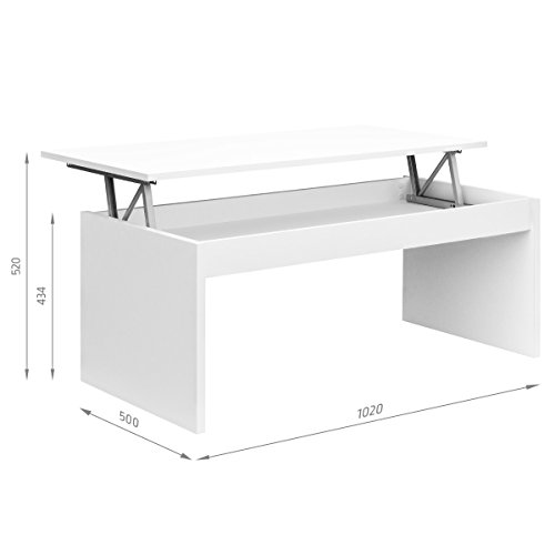 comifort table basse relevable moderne chevet de caf salle manger ou salon 102 x 502