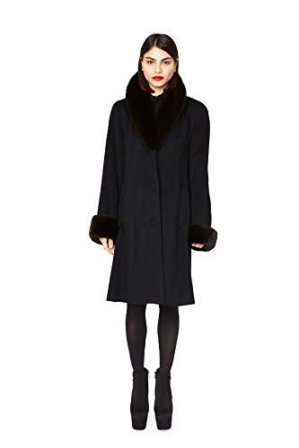 "513 Black Loro Piana 100% Cashmere Ranch Mink Collar and Cuffs 38"" Slightly Shaped Coat ()"