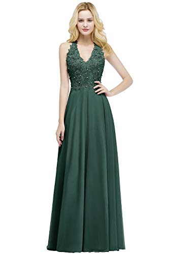 Babyonlinedress Halter V-Neck Maid of Honor Dresses for Wedding,DeepGreen,6
