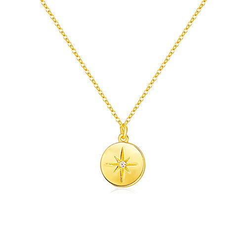 JORA Gold Disc Necklace Round Coin Starburst Pendant Necklace 18K Gold Plated Sterling Silver Necklace for Women