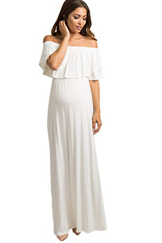 Ivory Off Shoulder Ruffle Trim Maxi Dress, Small ()