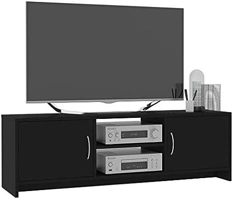 Tidyard Mueble de TV aglomerado Diseño Moderno Aparador para TV Mueble TV Salón,Negro 120x30x37,5 cm,con 2 Estantes y 2 Puertas: Amazon.es: Hogar