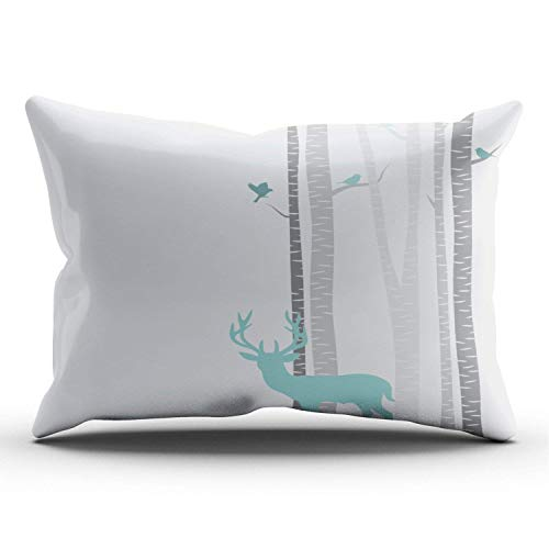 Etuwdie Birch Trees with Deer Personalized Pillowcases Designer Grey and White Decorative Pillow Case Cover 20x30 Inches Pillowcase One Sided