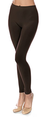 Basic Solid Full Length Footless Tights Leggings Pants - Nylon Premium Quality (Plus Size (Size 14-20), LG07 Brown)