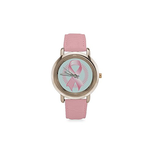 (Breast Cancer Pink Ribbon Women's Gold Leather Strap)