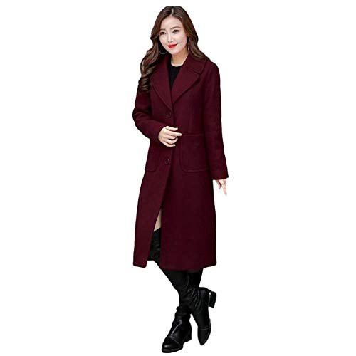 Cappotti Coat Rot Colori Confortevole Casuale Donna Invernali Lunga Tasche Pulsante Bavero Moda Anteriori Battercake Windbreaker Manica Donne Solidi Giubotto TUqwI