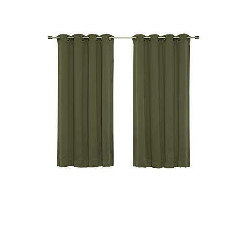 (Best Home Fashion Thermal Insulated Blackout Curtains - Antique Bronze Grommet Top - Olive - 52