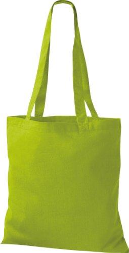 ShirtInStyle Premium Stoffbeutel Baumwolltasche Beutel Shopper Umhängetasche, Farbe kiwi