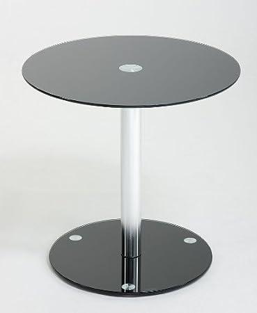 Schwarz Glas Beistelltisch Couchtisch Telefontisch Lounge Tisch Rund