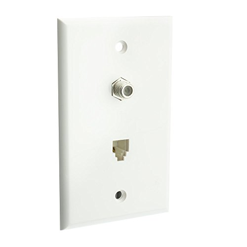 Satellite Wall Plate, White, F-pin Connector and Telephone (Wiring Telephone Wall Jack)
