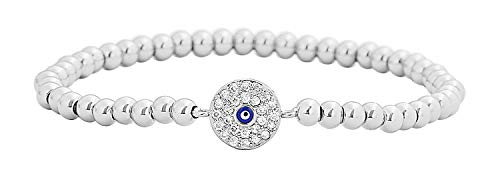 Edforce Stainless Steel Women Evil Eye Ball Chain Elastic Bracelet with CZ Cubic Zirconia (Silver)