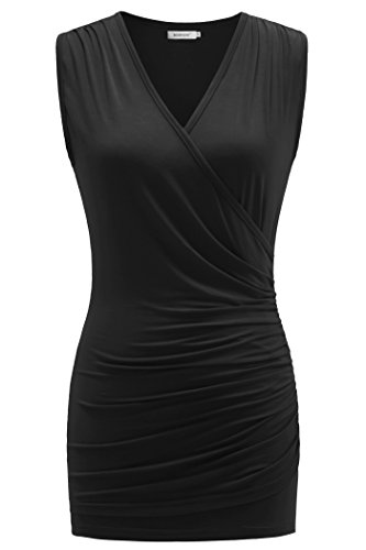 Kospoon Women Tank Tops, V Neck Sleeveless Sexy Ruched Front Tunic Shirts Black L (Black Sale)