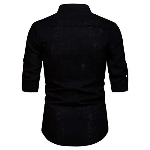 Top Unita Nero Fit Qinsling Camicia Shirt In Slim Autunno Bottoni risvolti C Maglietta Uomini Con Lunga Uomo Tinta Eleganti Camicetta Casual Business Manica qwTB0ga