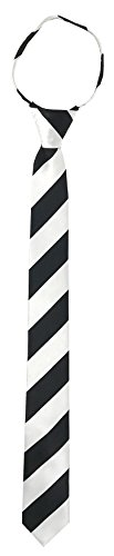 Marc Ferrier Men's Skinny Zipper Ties (WHITE AND BLACK (White Stripe Self Tie)