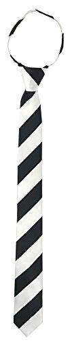 Marc Ferrier Men's Skinny Zipper Ties (WHITE AND BLACK (White Stripe Self Tie)