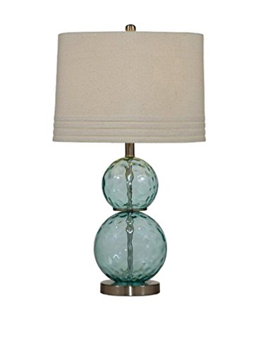 Bassett Mirror Barika Table Lamp, Blue Dimple Glass by Bassett Mirror Company