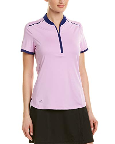 adidas Golf Women's Climacool Zipper Shorts Sleeve Polo, Large, Clear Lilac/Real Purple