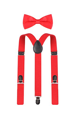 ORSKY+Adjustable+Leather+Suspenders+and+Pre-Tied+Bow+Tie+Set+for+Men+Red