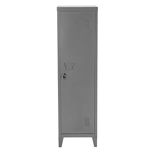 HouseinBox Office Lab Standing Metal Locker Storage Cabinet 3-in-1 Shelves Door Lockable 137cm Height,Dark Grey ()