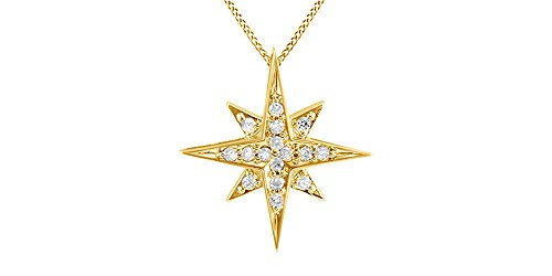 Round Natural Diamond Starburst Pendant Necklace in 10K Solid Yellow Gold (1/4 cttw)