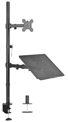 VIVO Laptop and LCD Monitor Stand up Desk Mount Extra Tall Adjustable Stand fits 1 Screen up to 27 inch (STAND-V012C)
