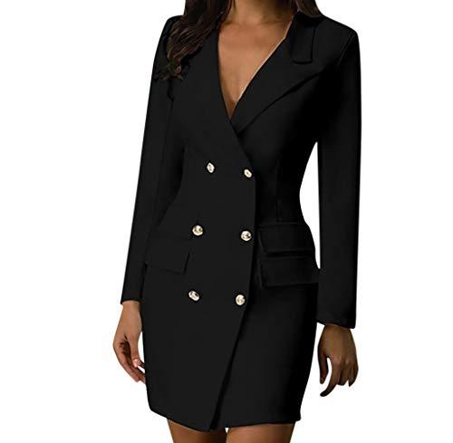 Amazon.com: Mujer OL Doble Pecho Botón Traje Vestido Militar ...