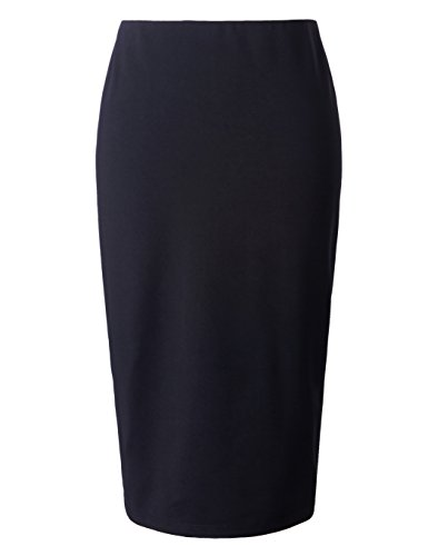 Chicwe Women's Stretch Plus Size Long Tailored Pencil Skirt With Elastic Waistband Calf Length (Waistband Pencil Skirt)