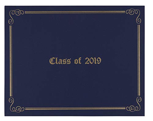 Diploma Gold Holder (Certificate Holder - Diploma Cover with Class of 2019 Gold Foil Imprint for Graduation Ceremony, Document Cover for Letter-Sized Award, 4 Corner Ribbons, Navy Blue, 11.5 x 9 Inches)