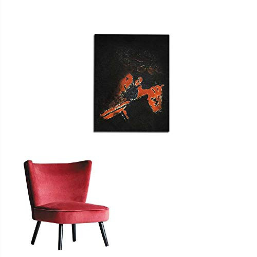 Wallpaper Abstract Black Portrait of Man Playing Guitar Oil Painting On Wood - Hand Painted Mural 16