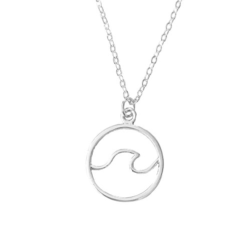 - Altitude Boutique Ocean Wave Inspired Necklace Circle Surfing Hawaii Sea Beach Jewelry Silver Gold (Silver)