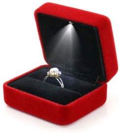 Joyero de alta joya con luces, caja de alianzas de boda, caja con ...