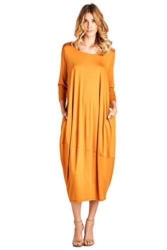 - 12 Ami Solid 3/4 Sleeve Bubble Hem Pocket Midi Dress Yellow L