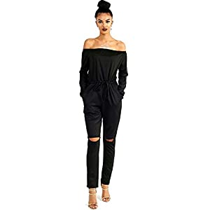 Longwu Women's Fashion Off-Shoulder Drawstring Jumpsuits Rompers Knee Hole Pants with Pockets
