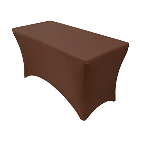 Your Chair Covers - Stretch Spandex 4 ft Rectangular Table Cover - Chocolate Brown, 48