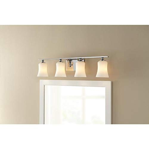 Home Decorators Collection 4-Light Chrome Square Bath Vanity Light with Etched White Glass