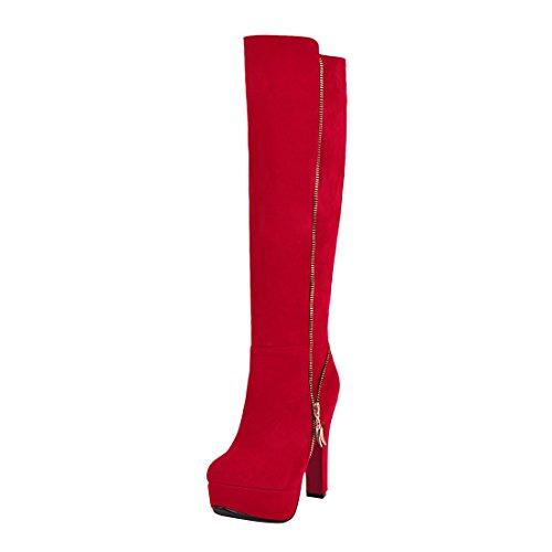 YE Damen Kniehohe Stiefel Blockabsatz High Heels Plateau mit Reißverschluss 12cm Absatz Elegant Schuhe Rot