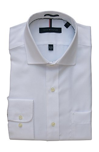 Tommy Hilfiger Mens Non Iron Regular Fit Spread Collar Dress Shirt (17-17.5