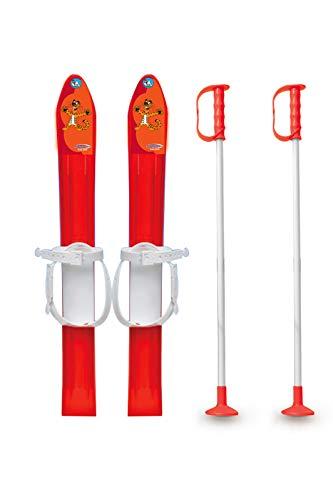 Jamara 460385 460385-Snow Play Cross-Country 1st Step 60cm Aerodynamic Construction, Extra Safe and Adjustable Fastening Loops, Ski Poles 60 cm, Red by JAMARA