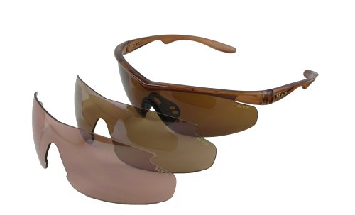 NYX Carbon Professional Amber 3-Lens Series Sunglasses (Amber Lens/Brown Gloss - Amber Rose Sunglasses